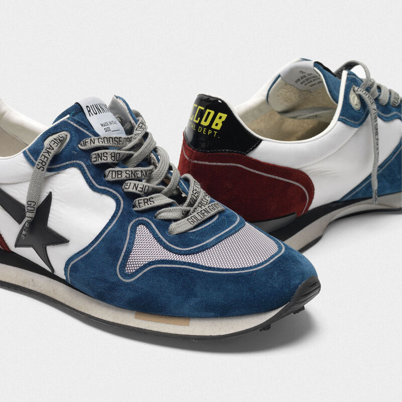 Golden Goose - Running sneakers in petrol and burgundy with black star in  image number null