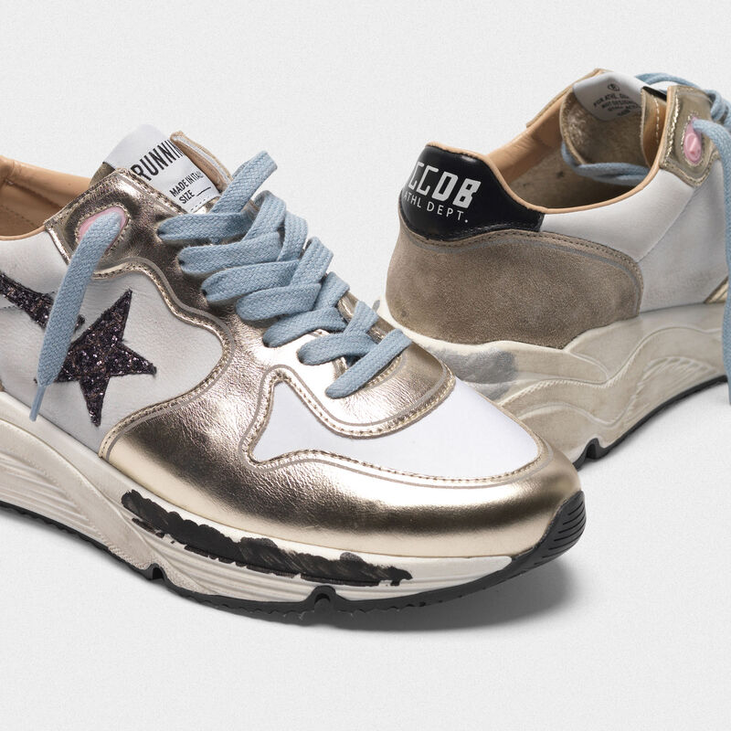 Golden Goose - Laminated Running sneakers, nubuck insert and glittery star in  image number null