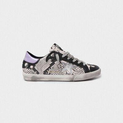 Sneakers Superstar pitonate con stella argentata