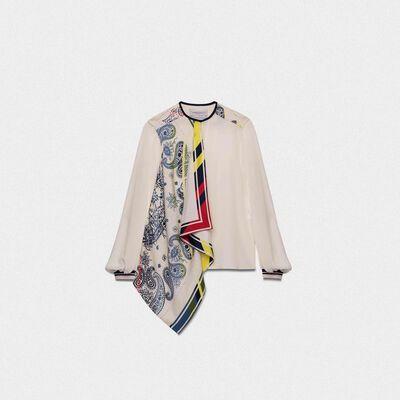 Eleanor silk shirt with multi-colour bandana print