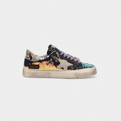 Sneakers May con paillettes e talloncino stampa serpente