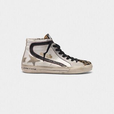 Sneakers Slide con inserto in cavallino leopardato e dettaglio glitter