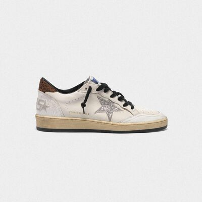 Sneakers Ball Star con stella in glitter e talloncino leopardato