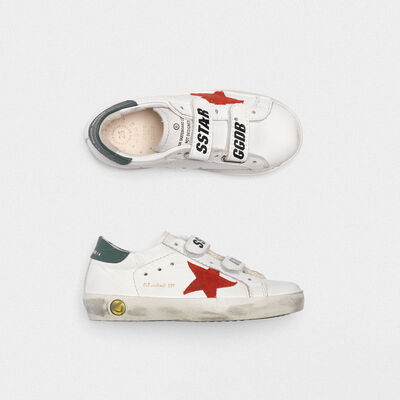 White Old School sneakers with red star and green heel tab