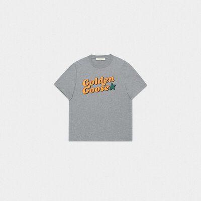T-shirt Golden grigio mélange con stampa vintage