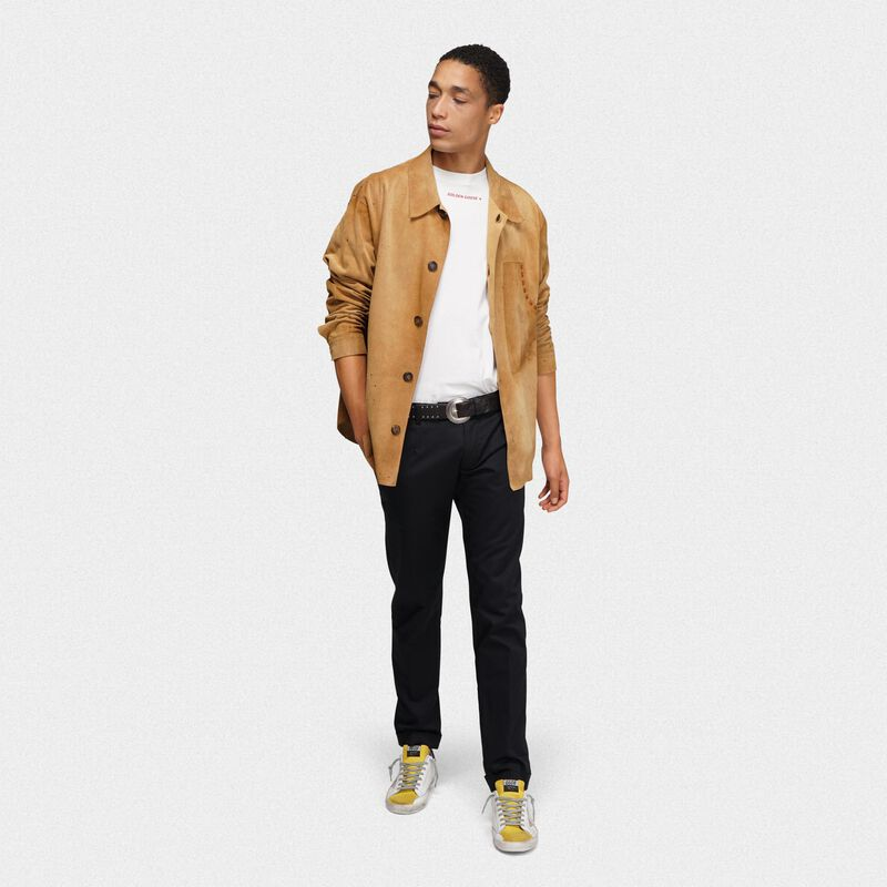 Golden Goose - Camicia Sawyer in pelle bone brown in  image number null