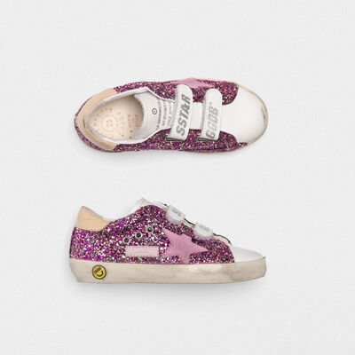 Sneakers Old School con glitter fuxia e stella rosa