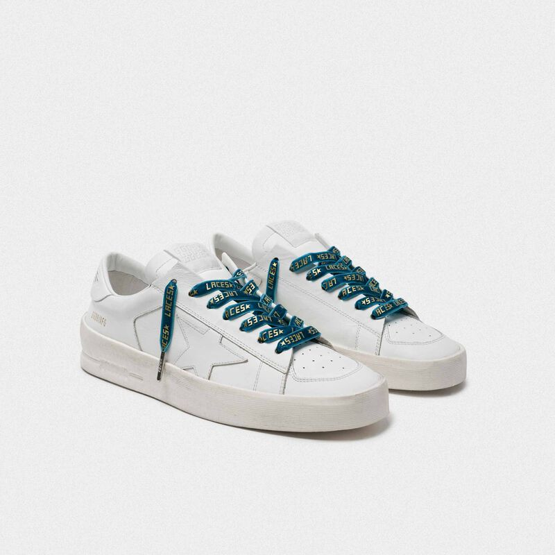 Golden Goose - Lacci donna in velluto verde con stampa laces dorata in  image number null