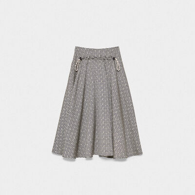 Ayame skirt with floral print and stripes with technical drawstring