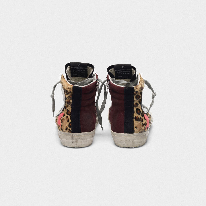 Golden Goose - Sneakers Slide in cavallino leopardato e suede con stella rosa in  image number null