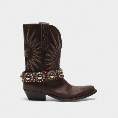 Low Wish Star boots in leather with studded strap