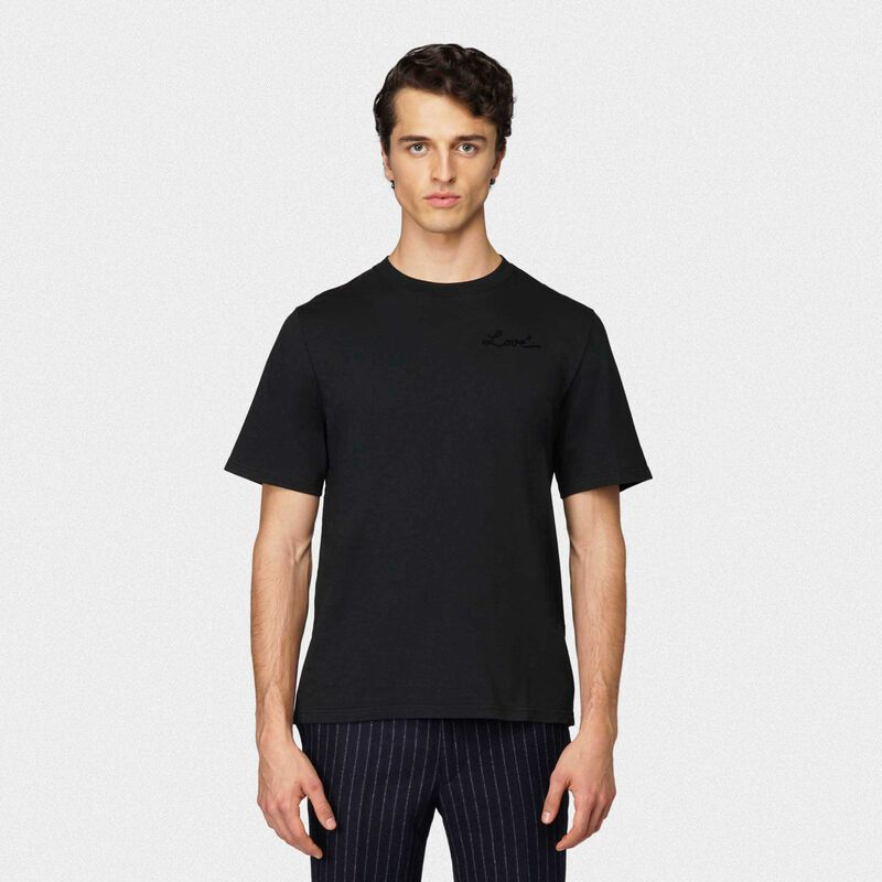 Golden Goose - Black Golden T-shirt with Love embroidery in  image number null