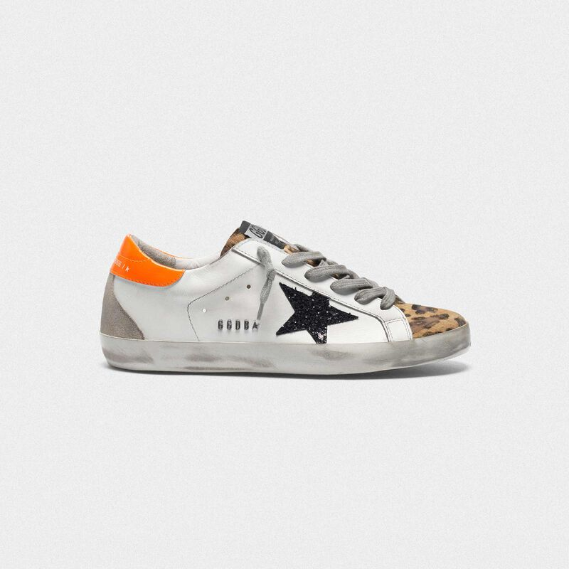 Golden Goose - Superstar sneakers with leopard-print insert, glittery star and orange heel tab in  image number null