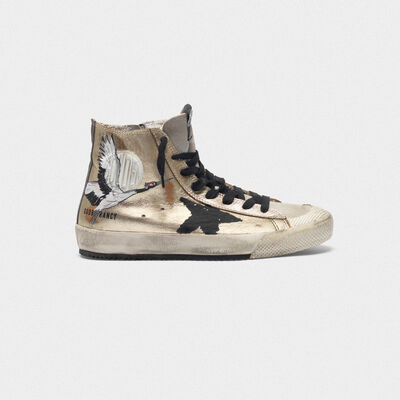 Gold-coloured Francy sneakers with hand-painted crane