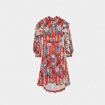 Chieko dress in floral fabric with ruffles