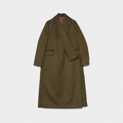Kigiku A-line coat in a wool blend