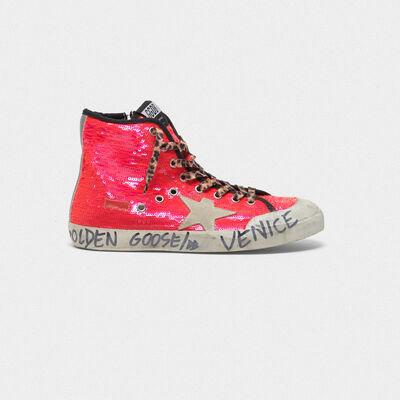 Sneakers Francy con paillettes e scritta a mano sulla suola