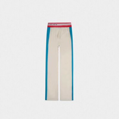 Betty joggers in beige with blue bands and elasticated waistband