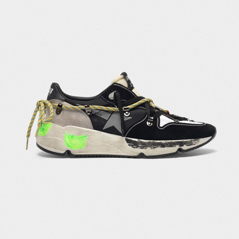 Golden Goose - Sneakers Running Sole in suede con doppia allacciatura in  image number null