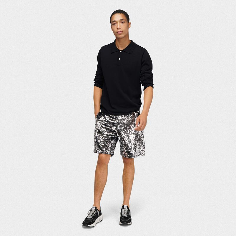 Golden Goose - Polo Isaac nera in maglia di cotone in  image number null