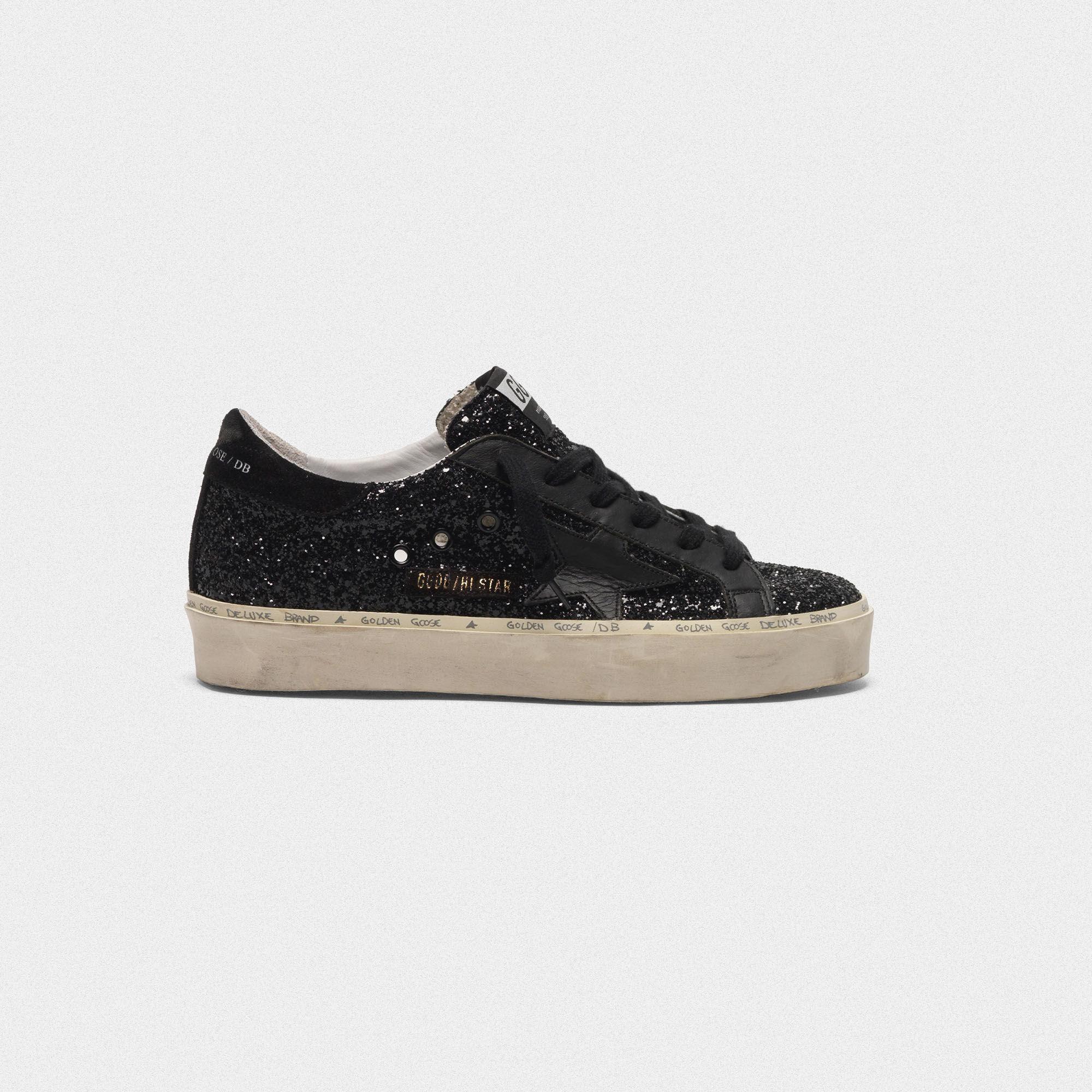 Sneakers Hi Star con tomaia nera in glitter