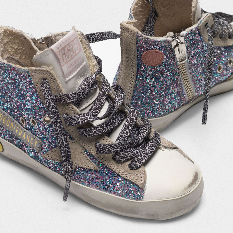 Golden Goose - White Francy sneakers in leather with multicoloured glitter in  image number null