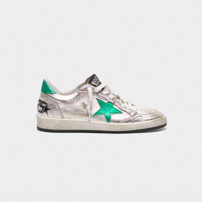 Sneakers Ball Star argentate con stella e talloncino verdi