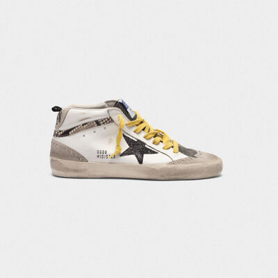 Mid-Star sneakers in leather with snake-print insert