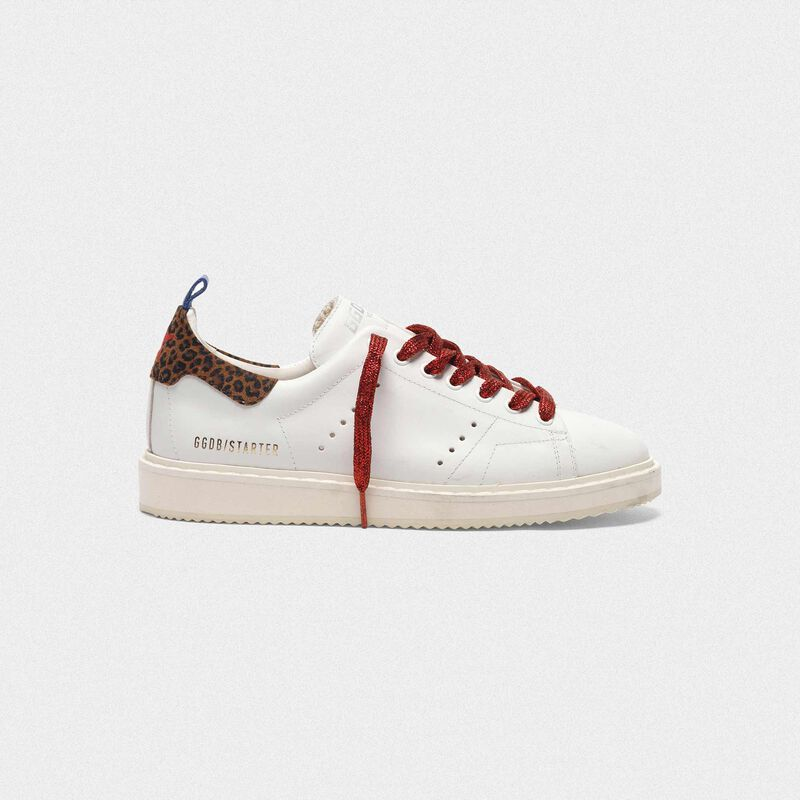Golden Goose - Starter sneakers in leather with leopard-print heel tab in  image number null