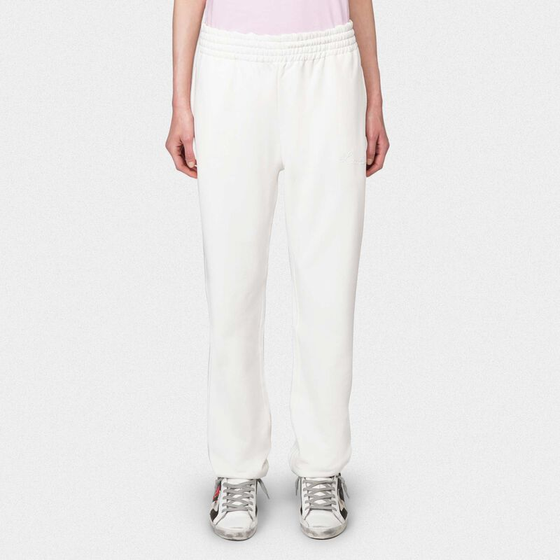 Golden Goose - Joggers Hamm bianchi con ricamo Love in  image number null