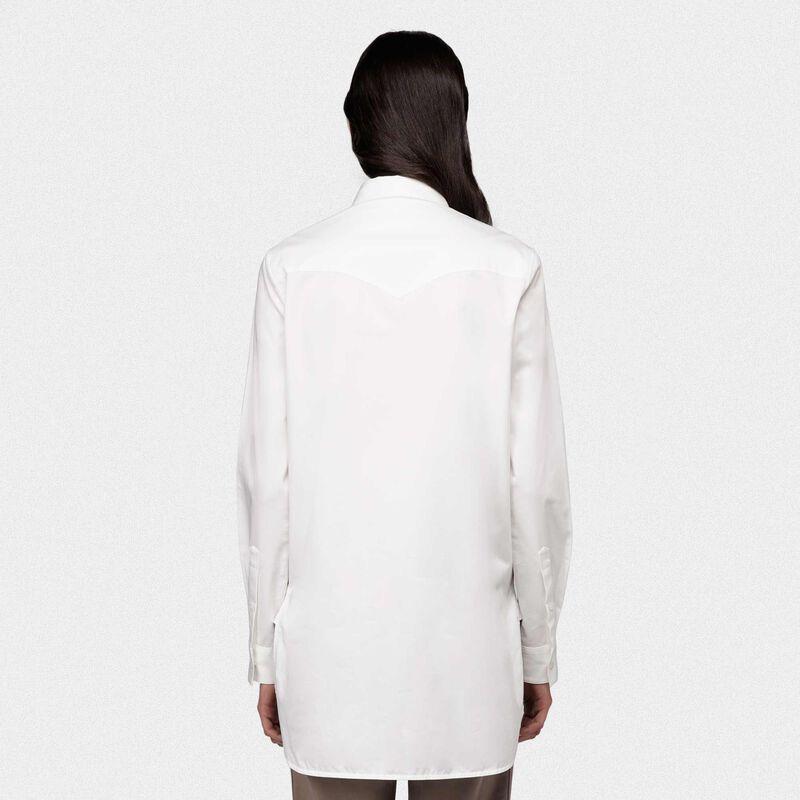 Golden Goose - Camicia Alice bianca in popeline con ricamo foglie dorate in  image number null