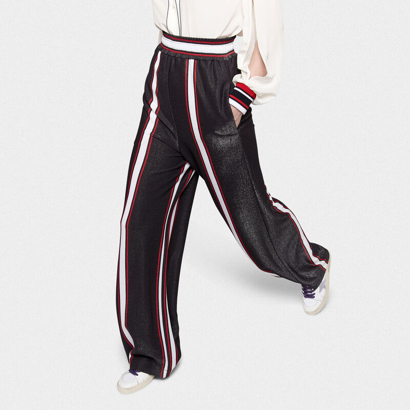 Golden Goose - Pantaloni Sophie a palazzo in jersey con righe in  image number null