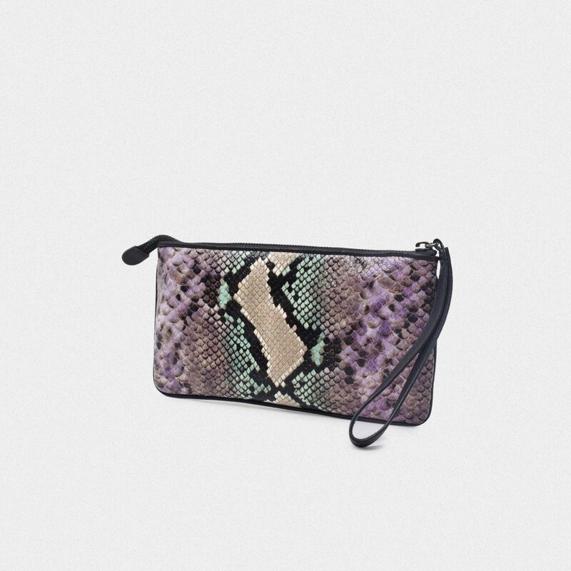 Golden Goose - Star Wrist clutch bag with python print and glitter star in  image number null