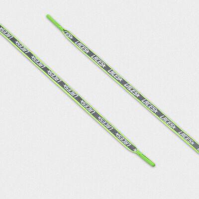 Lacci donna riflettenti verde fluo con stampa laces