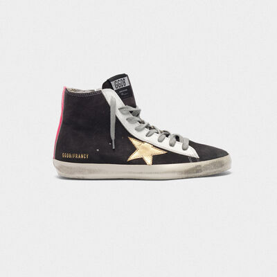 Francy sneakers in suede with gold star and fuchsia insert on the back