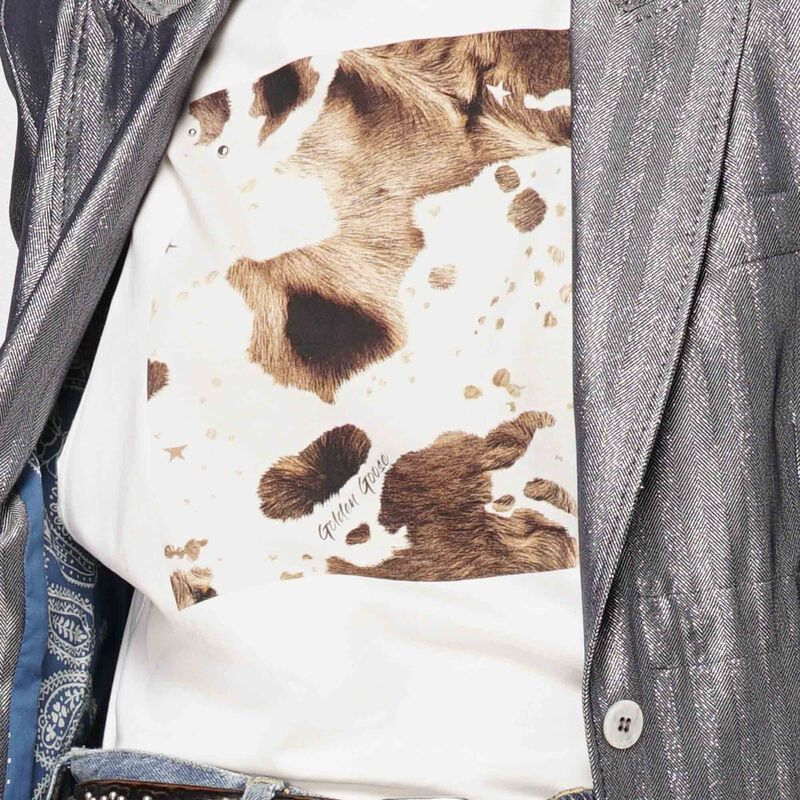 Golden Goose - T-shirt Marfa bianca smanicata stampa muccata in  image number null