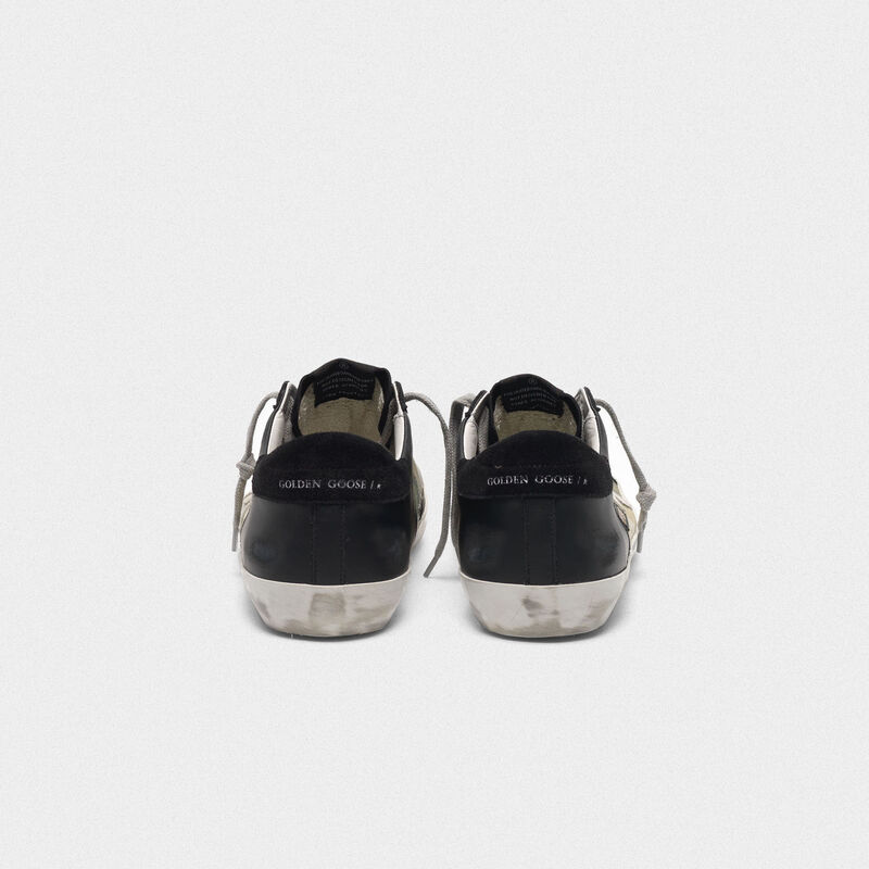 Golden Goose - Superstar sneakers in black leather and camouflage canvas in  image number null