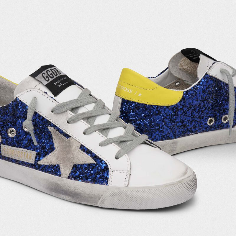 Golden Goose - Superstar sneakers with blue glitter and yellow heel tab in  image number null