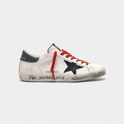 """Leather Superstar sneakers with the words """"For skaters only"""""""