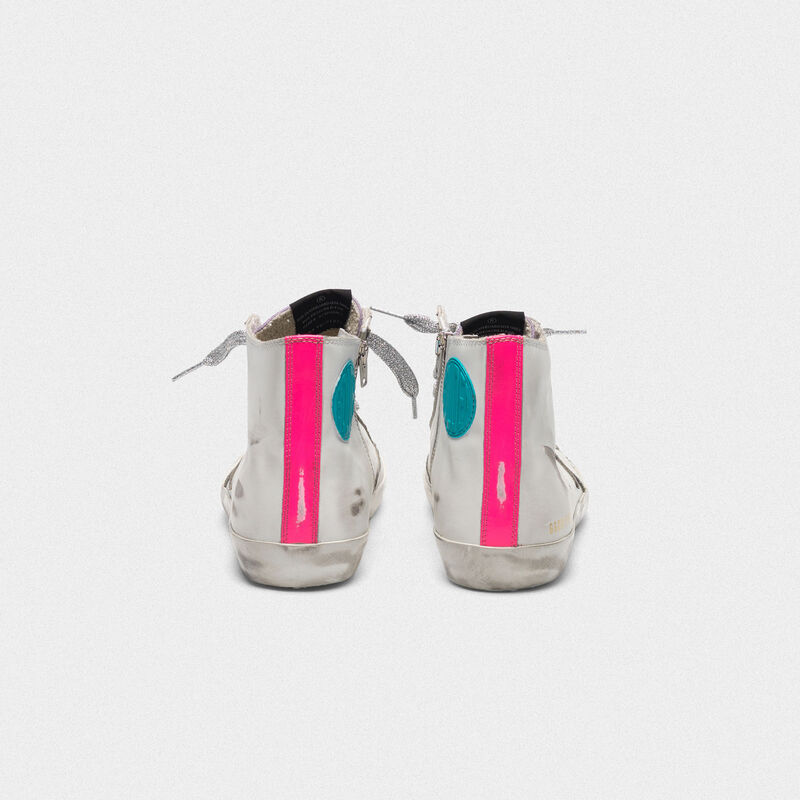 Golden Goose - White Francy sneakers in leather with fuchsia bands   in  image number null
