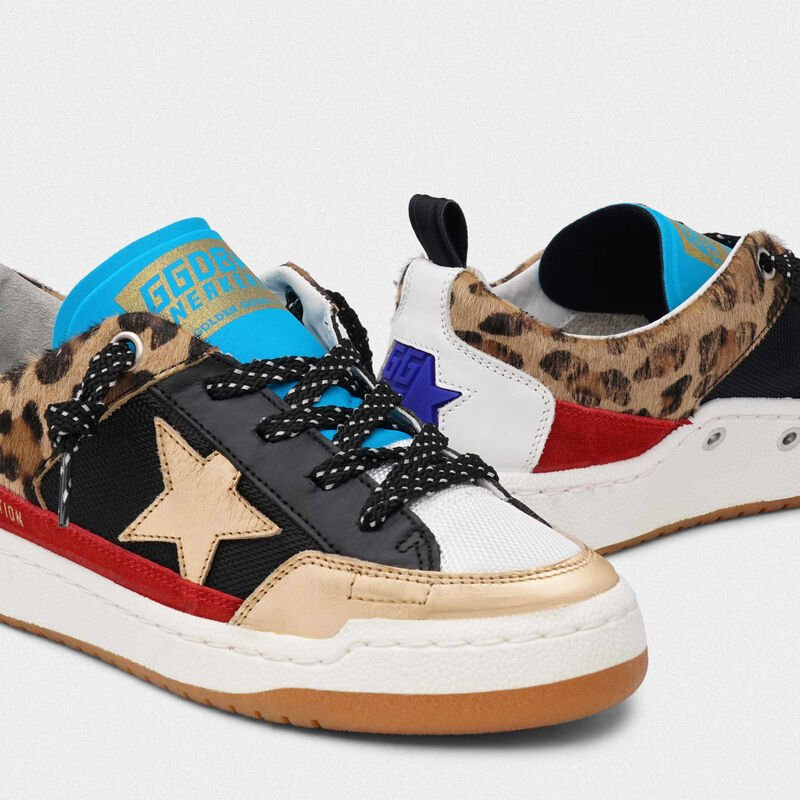 Golden Goose - Sneakers Yeah! leopardate con stella dorata in  image number null