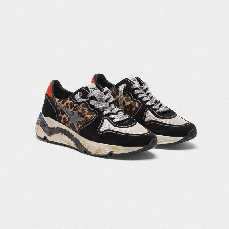 Golden Goose - Sneakers Running Sole in cavallino stampa leopardata e suede in  image number null