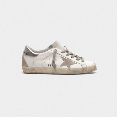 Superstar sneakers in leather with star and heel tab in suede