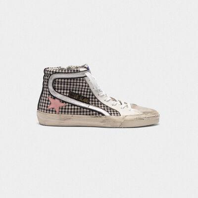 Sneakers Slide a quadretti con stella rosa e dettaglio olografico