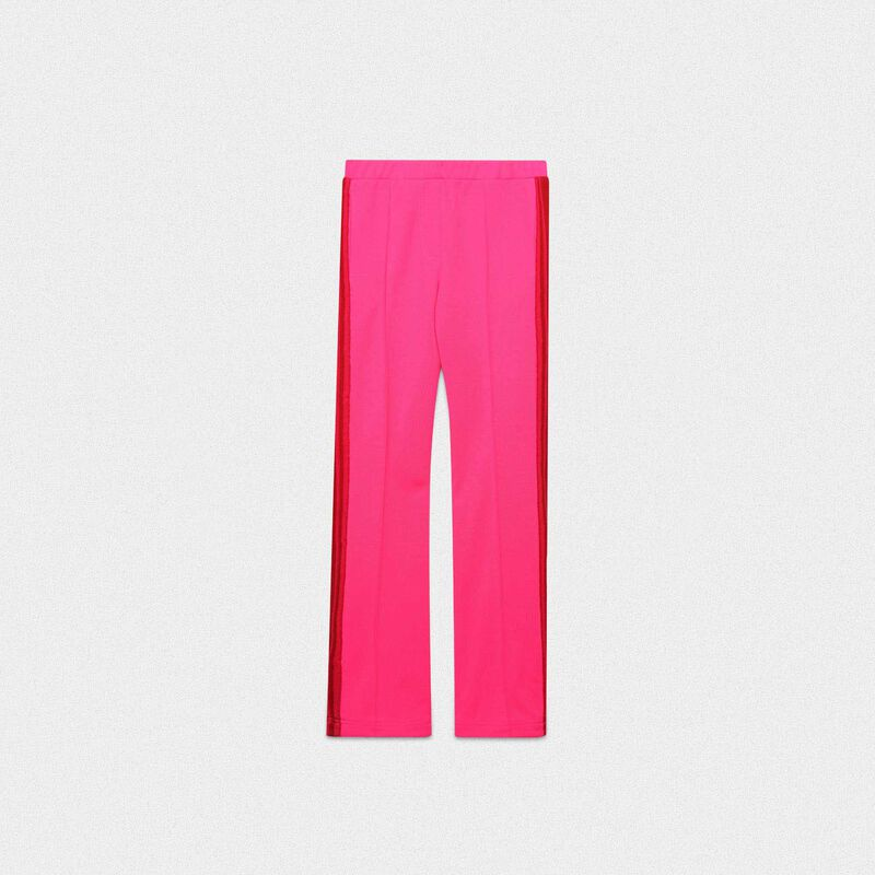 Golden Goose - Pink Kelly trousers in technical fabric with lurex waistband in  image number null