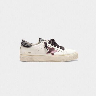 Sneakers May con stella lucida e talloncino zebrato