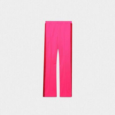 Pantaloni Kelly rosa in tessuto tecnico e vita in lurex