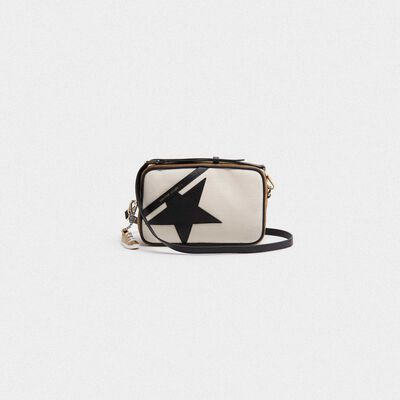 Star Bag made of canvas and brown suede leather with black star