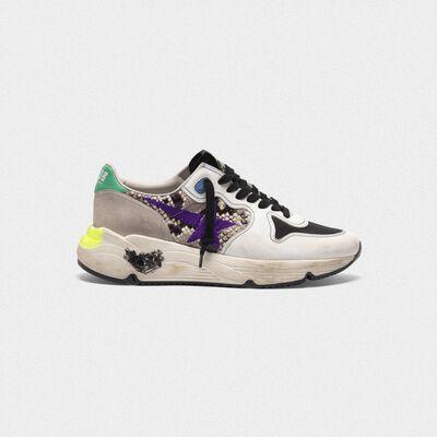 Sneakers Running Sole in pelle stampa serpente con stella viola ricamata