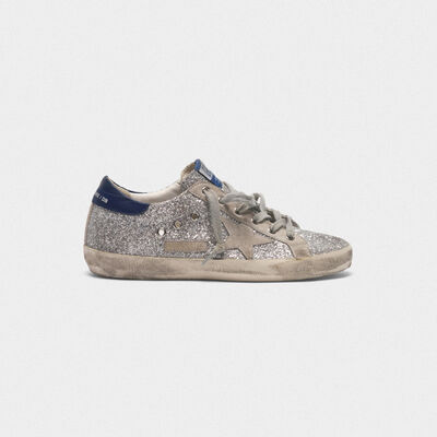 Superstar sneakers in all-over glitter with suede insert